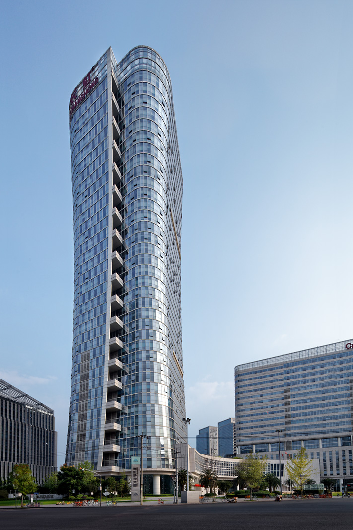 Photography of glass office buildings in China