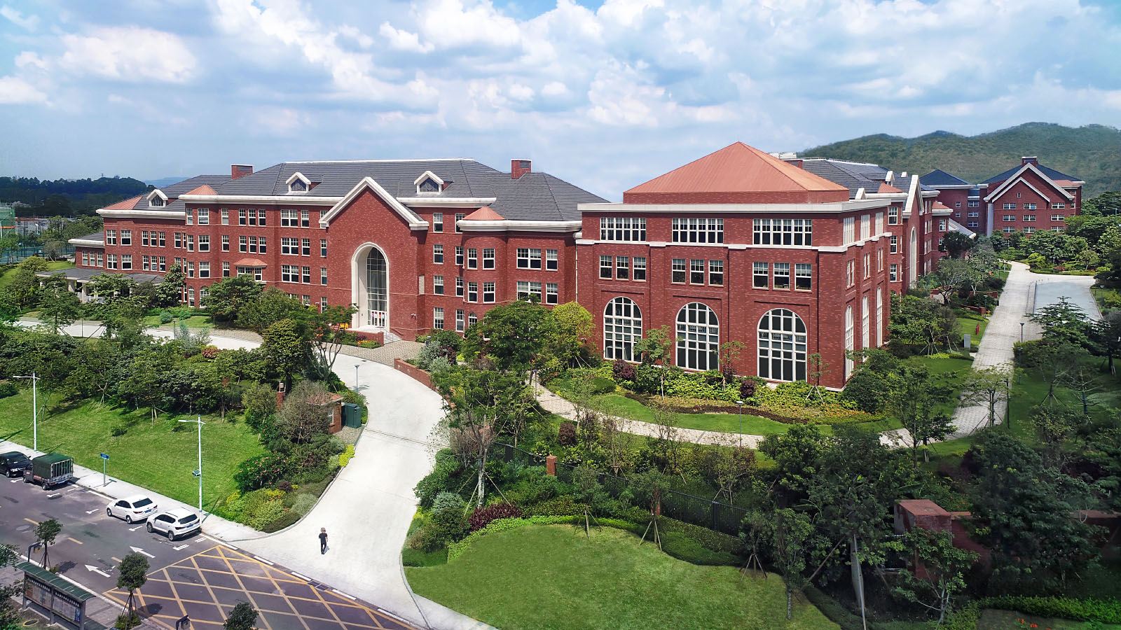 Aerial drone photography by Paul Dingman of international schools in China. Paul Dingman designs architectural photographs for architects.