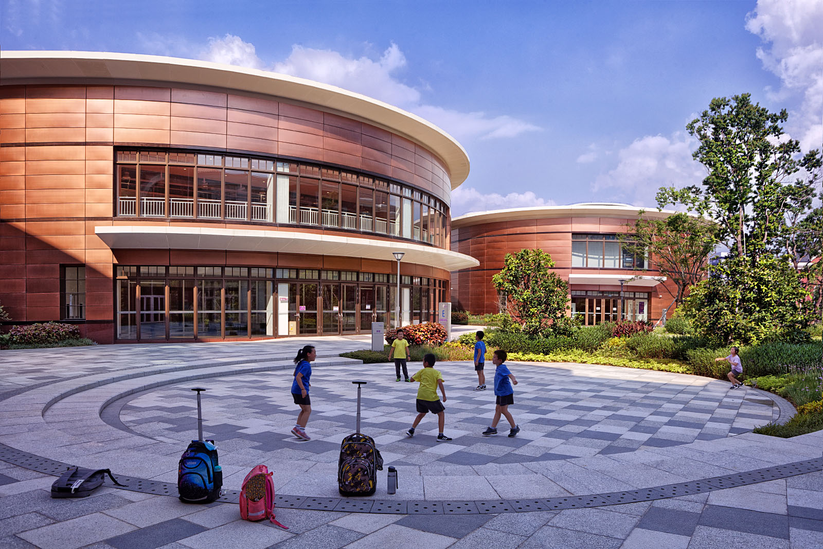Exterior architectural photography by Paul Dingman of international schools in China. Paul Dingman designs architectural photographs for architects.